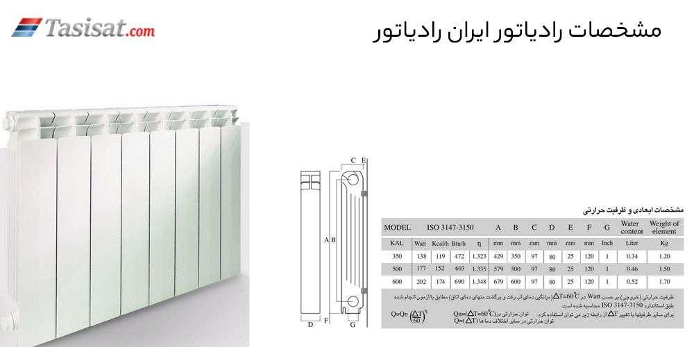 مشخصات رادیاتور ایران رادیاتور